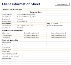 Customer Information Template Client Information Sheet Template