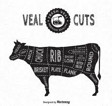 Veal Meat Chart Veal Cuts Vector Diagram In Vintage Style Download Free