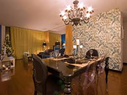 decorative accent wall enlivens dining room