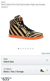 Gucci Shoe Size Chart Mens Mens Gucci Zebra Print Calf Hair Leather High Top Sneakers