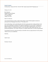 Cover Letter For Chef Resume Perfect Resume
