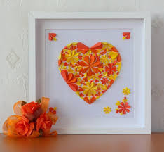 white box frame handmade 3d art blossom flowers heart handcut paper orange yellow wall decoration deco on 3d paper flower shadow box wall art with 17 best shadow box ideas images on pinterest picture frame