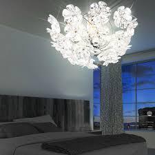 Decken Lampe Schlafzimmer Leuchte Chrom Acryl Blüten Rund Globo