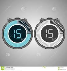 Set Timer For 15 Electronic Digital Stopwatch 15 Seconds Stock Illustration