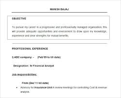 Career Goal For Resume Examples Free Doc Financial Analyst Resume