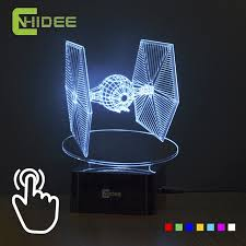 creative gifts star wars tie fighter lamp 3d deco vision desk lampara led usb 7 colors