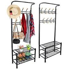 Coat Stand And Shoe Rack Black Metal 100 Hook Hat and Coat Stand Clothes Shoe Rack Hanger 63