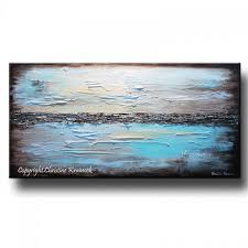 GICLEE PRINT Art Blue Abstract Painting Modern Coastal Canvas Prints Urban  Aqua Brown White