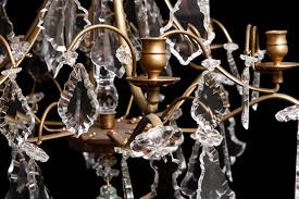 rococo style six light glass and crystal prism chandelier c 1880