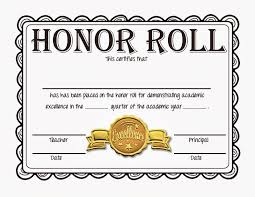 Best Ideas Of High School Honor Roll Certificate Template With