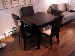 Furniture, Classic Black Wooden Small Square Dining Table Laminate Floor ~  Compact Small Square Dining Table With Colorful Decoration