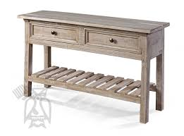 solid pine wood rustic rivera sofa accent table with drawers and shelf in marfil finish