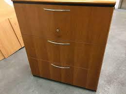 walnut wood 3 draw filing cabinet