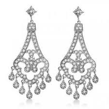 dangling chandelier diamond earrings 14k white gold 1 08ct alternate view 1