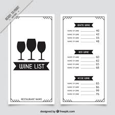 Glass Template Wine List Template With Three Glasses Vector Free Download