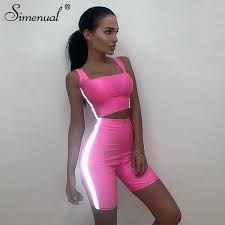 2019 <b>Simenual</b> Casual <b>Reflective</b> Striped Sets Women Fitness Neon ...