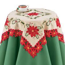 Poinsettia Designs Burlap Poinsettia Table Runner Topper Linens Festive Christmas Artistic Embroidered Designs Square