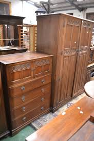 lot 318 an oak three piece bedroom suite by crown ay furniture comprising double wardrobe