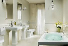 Bathroom  Cream White Tile Bathroom Design With White Bathtub In - Yellow and white bathroom