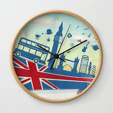 flag with sky background wall clock