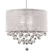 artistic drum shade crystal chandelier in organza silk contemporary