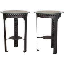 end side tables vintage industrial brutalist riveted steel metal and glass at 1stdibs