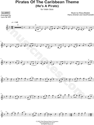 I know on this site there is a he's a pirate piano free sheet music. Lara6683 Pirates Of The Caribbean Theme He S A Pirate Sheet Music Violin Solo In D Minor Download Print Sku Mn0196027
