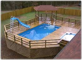 above ground pool with deck and hot tub. Great Deck For Above Ground Pool With Hot Tub And Shady Alcove C