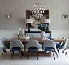 sophisticated saarinen executive chairs around a walnut dining table in this bridgehampton home knoll