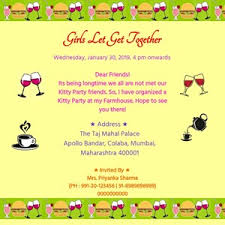 Free Online Invites Templates Free Kitty Party Invitation Card Online Invitations