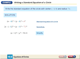writing a standard equation of a circle write the standard equation of the circle with center