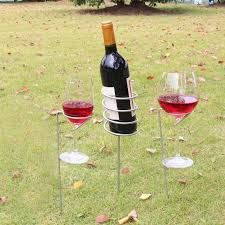 upxiang wine glass bottle holder stake set garden drinks holders outdoor drinks holders for picnic bbq barbecue camping by upxiang for