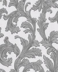 Barok Behang Edem 1032 10 Vinylbehang Glad Met Ornamenten En Metalen Accenten Wit Zilver 533 M2