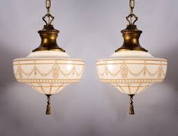 two matching antique lightolier pendant lights pewter brass with original finish nc743 for