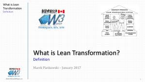 What Is Lean What Is Lean Transformation January 2017