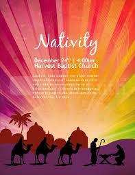 Printable Christmas Flyers Free Religious Christmas Flyer Templates Nativity Poster Church