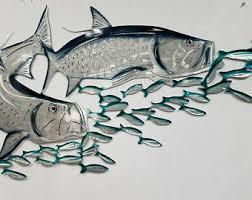 aluminum tarpon wall art metal fish art metal ocean art fishing gift tropical decor tropical fish art handmade fish art on fish wall art metal with metal fish wall art etsy