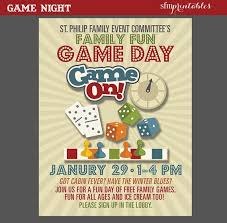 church invitation flyers game night poster fun dice template church school community movie