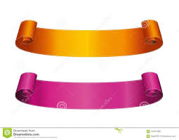 Purple Ribbon Banner Decorative Orange And Purple Ribbon Banner With Copy Space