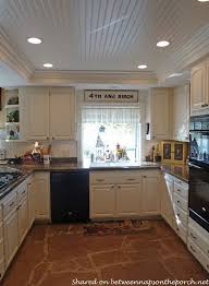 lighting for a small kitchen. Kitchen Renovation With White Cabinets, Granite, Recessed Lighting 06--beadboard On Raised Ceiling For A Small H