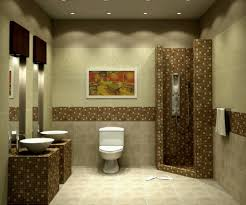 interesting brown floral bathroom tile decorating idea paired with white toilet also recessed light idea bathroom recessed lighting ideas