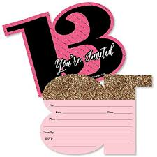 13th Party Invitations Chic 13th Birthday Pink Black And Gold Shaped Fill In Invitations Birthday Party Invitation Cards With Envelopes Set Of 12