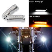 Harley Davidson Light Bar 1 Pair Street Glide Led Engine Guard Lights White Amber