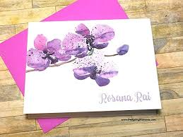 purple note cards amazon com purple orchid personalized stationery custom