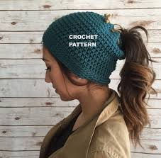 Free Crochet Hat Pattern With Ponytail Hole Impressive Messy Bun Beanie Pattern Runner's Beanie Hat Pattern Etsy