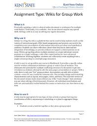 Wiki Work Assignment Type Wikis For Group Work What Is It