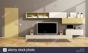 Tv Set Design Living Room Modern Living Room With Wall Unit Tv Set And Closed Door 3d