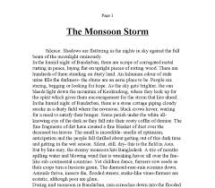 creative writing the monsoon storm gcse english marked by document image preview