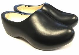 black wooden shoes in all sizes