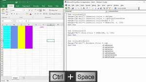 Vba Color Chart How To Colour Excel Cells Font And Border With Vba Macro